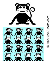 seamless pattern monkey ape animal