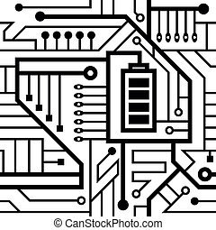 seamless pattern, motherboard, interlacing wires black and white background