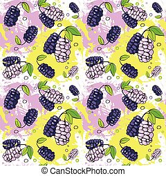 Seamless Pattern Mulberry Fruits Summer Ornament Background...