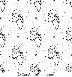 Seamless Pattern Mystical deer with moon and stars. Stars, constellations, moon.