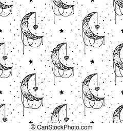 Seamless Pattern Mystical moon with stars. Stars, constellations, moon, crystals.