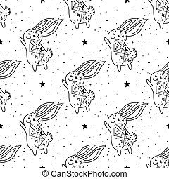 Seamless Pattern Mystical rabbit with moon and stars. Mystic, alchemy, occult concept.