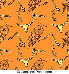 Seamless pattern native american symbols