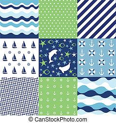 Seamless pattern, nautical elements
