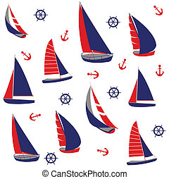 Seamless pattern, nautical elements - Seamless pattern with...
