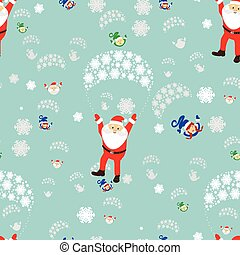 seamless pattern. New Year s Christmas holiday. Santa Claus flies on a parachute with the girl and the elf. an illustration vector to use eps 10 for the press, design, the webs registrations, undershirt, t-shirt, print...