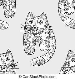 Seamless pattern od cats - Seamless pattern with cute cats,...