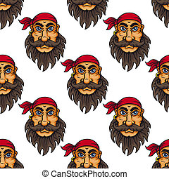 Seamless pattern of a bearded pirate or sailor