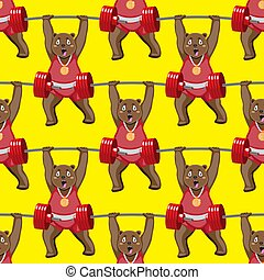 seamless pattern of a bodybuilder bear with a barbell on a yellow background. Vector image