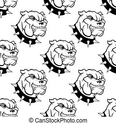 Seamless pattern of a large watchdog with a spiked collar, heavy jowls and an evil toothy grin