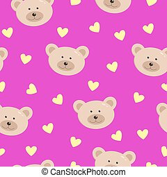 Seamless pattern of A funny bear Face and hearts on a pink background. Children's Wallpaper Vector illustration.