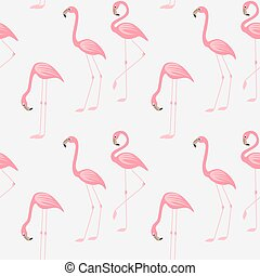 Seamless pattern of a pink flamingo