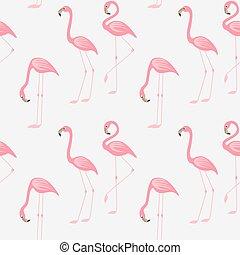 Seamless pattern of a pink flamingo