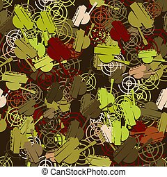 Seamless pattern of a tank military vehicle and a target on a dark background. Vector image