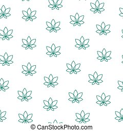 Seamless pattern of abstract cannabis leaf in modern style on a white background.