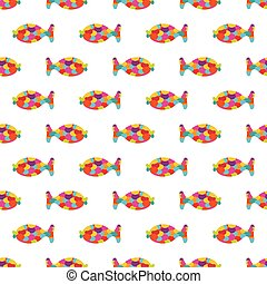 Seamless pattern of abstract cartoon colorful fish.