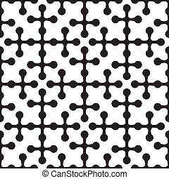 seamless pattern of abstract crosses with circles on a white background. Vector image