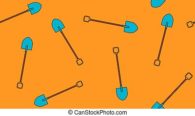 Seamless pattern of agro building icons with beautiful sharp bayonet shovels with wooden handles for digging the ground. Garden tools on a brown background. Vector illustration