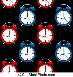 Seamless pattern of alarms clock in red and blue color on black background.