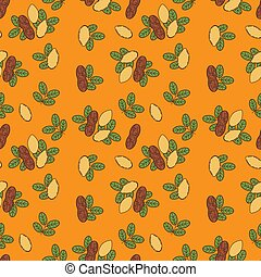 Seamless pattern of almond in cartoon style