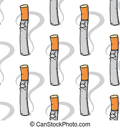 Seamless pattern of an evil little cigarette
