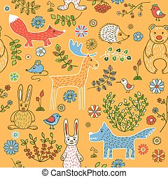Seamless pattern of animals in the forest