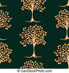 Seamless pattern of apple trees with ripe fruits