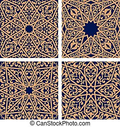 Seamless pattern of arabic ornament with floral elements