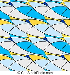 Seamless pattern of arcs, blue, yellow, gray