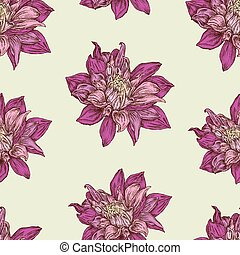 Seamless pattern of aster flowers