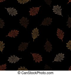 Seamless pattern of autumn leaves of northern red oak on a...