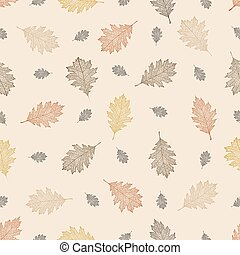 Seamless pattern of autumn leaves of northern red oak...
