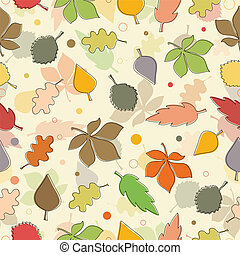 Seamless pattern of autumn leaves. Various leaves on white background.