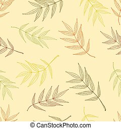 Seamless pattern of autumnal ashberry leaves