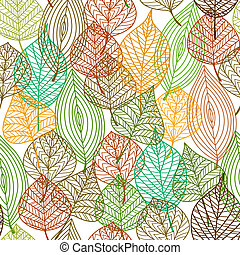 Seamless pattern of autumnal leaves in square format for...