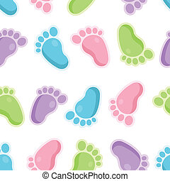 Seamless Pattern of Baby Feet Icons - Vector seamless...