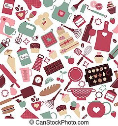 Seamless pattern of bakery and sweets