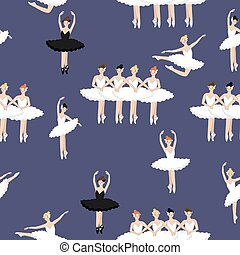 Seamless pattern of ballerinas on a purple background. Vector graphics.