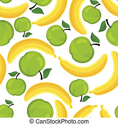 Seamless pattern of bananas and apples.