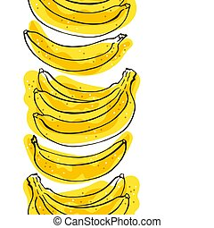 Seamless pattern of bananas border on a white background