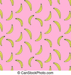 Seamless pattern of bananas on a pink background