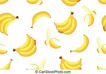 Seamless pattern of bananas on white background - Vector illustration