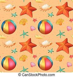 Seamless pattern of beach objects