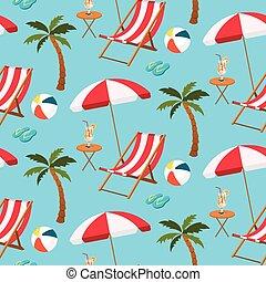 Seamless pattern of beach settings
