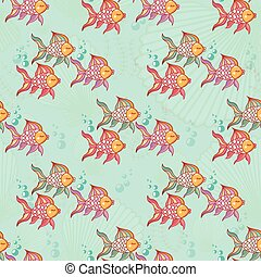 Seamless pattern of beautiful fish