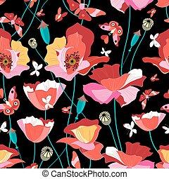 Seamless pattern of beautiful red poppies