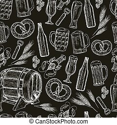 Seamless pattern of beer icons on black background