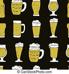 pattern of beer mugs and bottle.