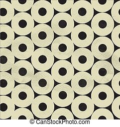 Seamless pattern of beige circles on black paper