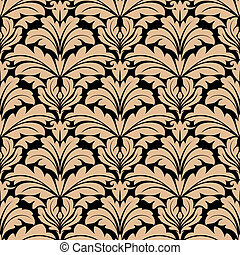 Seamless pattern of beige floral arabesque motifs - Seamless...